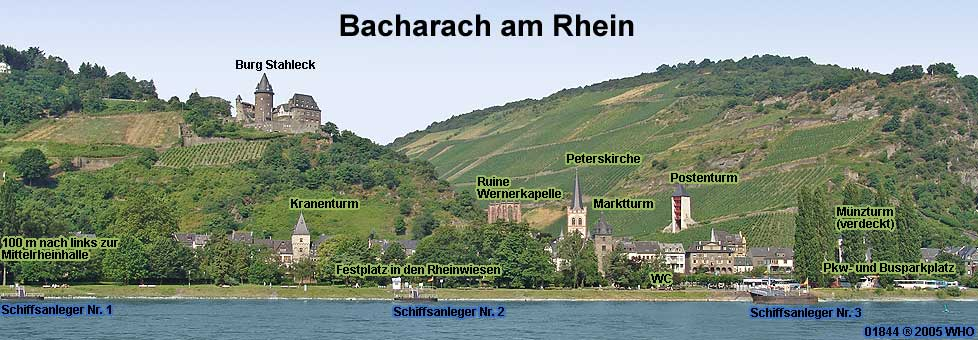 Bacharach Germany on the Rhine River with Stahleck castle, towers, Peters Church and Ruins of St. Werner Chapel.
