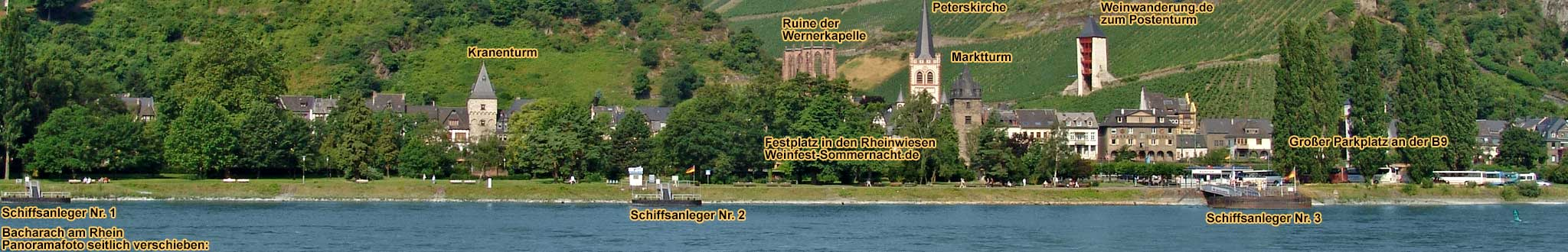 Panorama picture of Bacharach on the Rhine River with boat landing stages
