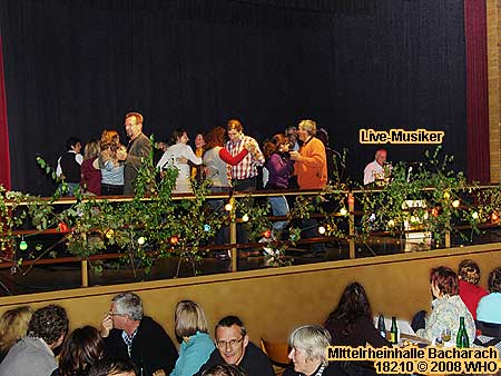 Dance floor in the Mittelrheinhalle (Middle Rhine Hall). Golden wine autumn festival Bacharach Germany on the Rhine River.