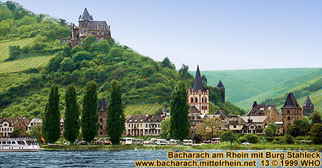Bacharach on the Rhine river with Castle (Burg) Stahleck, Peters Church (Peterskirche), Market Tower (Marktturm) and Coin Tower (Munzturm).