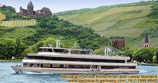Boat cruise on the Rhine River along Bacharach